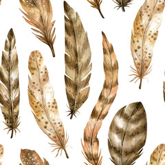 Watercolor seamless pattern with hand drawn bird feathers in boho style. Background with nature elements  for wallpaper, wrapping, invitation, home decor