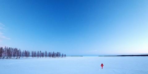 Fototapeta Scenic View Of Snow Covered Landscape Against Blue Sky
