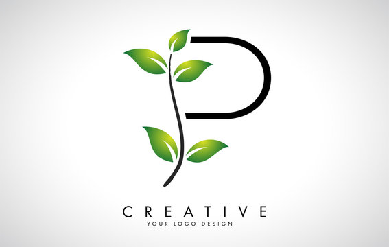 Leaf Letter P Logo Design with Green Leaves on a Branch. Letter P with nature concept.