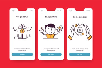 Financial mobile app onboarding screens. You got bonus, Get the cash back, Save your time. Cute characters to introduce fintech start up key features. Controlling costs and managing finance.