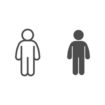 Man stand pose line and solid icon. Man in front pose arms down at the waist outline style pictogram on white background. Person standing silhouette for mobile concept and web design. Vector graphics.