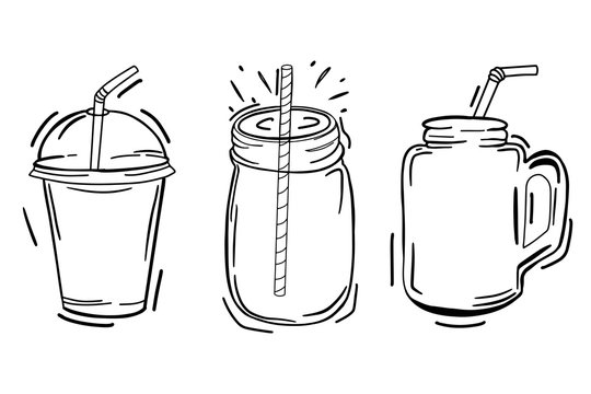 Detox day. Smoothies, fresh. Hand drawing. For your design.