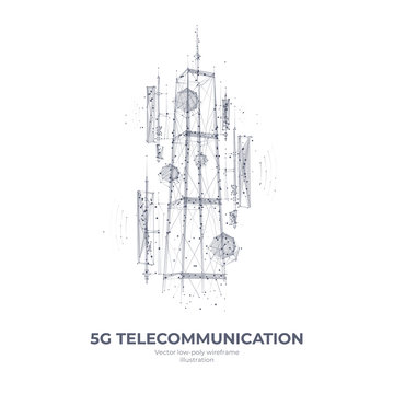Abstract 3d isolated  5G tower on white