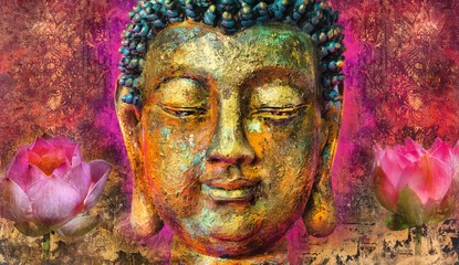 buddha face  abstract art paintings with even some buddha statue landscape images