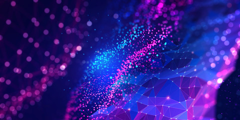 Neural network 3D illustration. Big data and cybersecurity. Global database and artificial intelligence. Bright, colorful background with bokeh effect