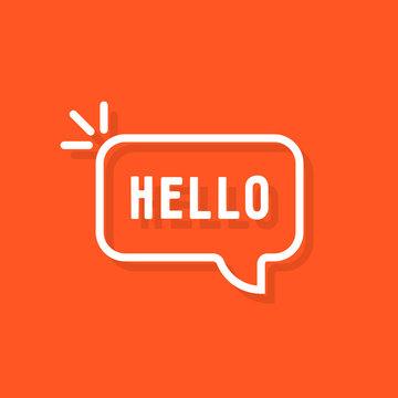 linear hello word in speech bubble