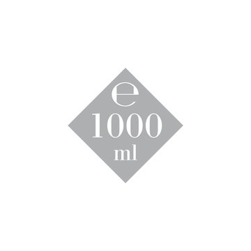 1 Liter l sign l-mark estimated volumes 1000 milliliters ml Vector symbol packaging, labels used for prepacked foods, drinks different liters and milliliters. 1 litre vol single icon isolated on white