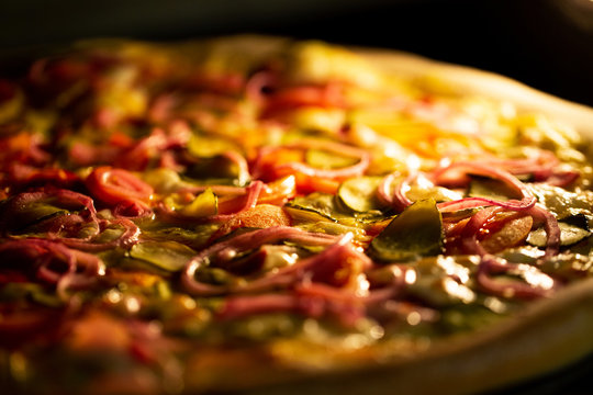 Pizza baked in an electric oven close-up