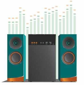 Turquoise music speakers with orange accents and a subwoofer, on the background of the equalizer