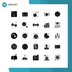 Mobile Interface Solid Glyph Set of 25 Pictograms of emojis, cookie, competition, restaurant, food