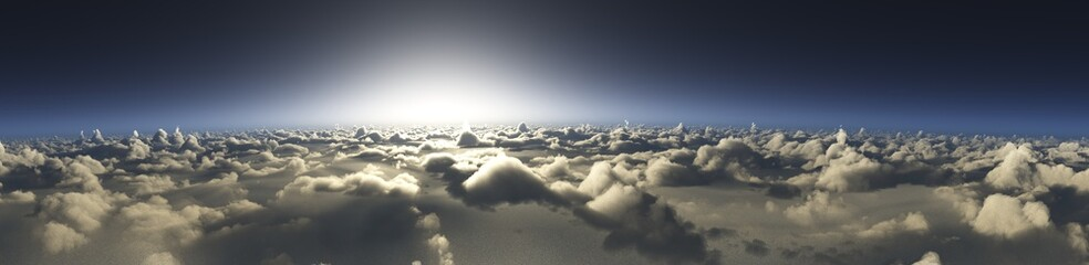 Sunset over the clouds, the sun over the clouds, panorama of the clouds, 3D rendering Fotomurales