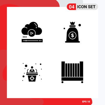 Modern Set of 4 Solid Glyphs and symbols such as video, employee, cloud, money, speech