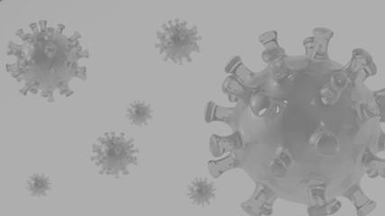 delikatne tło z wizualizacją wirusa na jasnym planie, tapeta z pojedynczymi komórkami covid  czarno białe