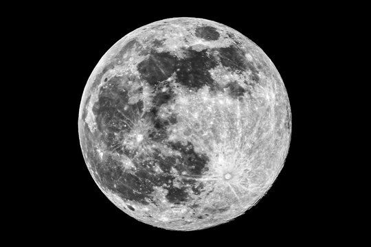 The picture shows the super moon (full moon) over the city of Bottrop in North Rhine-Westphalia with a clear night sky.
