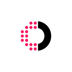 Red Dots Geometric Vector Logo Letter O