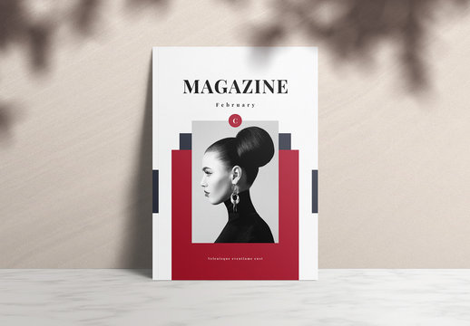 Fashion Magazine Layout with Red and Gray Accents