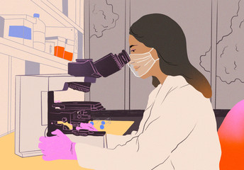 Woman in laboratory with face-mask and gloves during pandemics