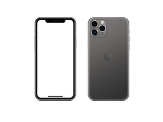 Bangkok, Thailand - Sep 4, 2019: Smartphone frameless mockup. Studio shot of Smartphone iPhone 11 Pro Max with blank screen for Infographic Global Business web site design app -include clipping pat Fotobehang