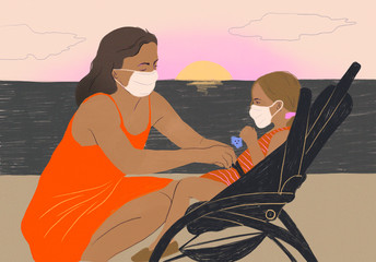 Family outdoors in 2020 spring pandemics, woman with child