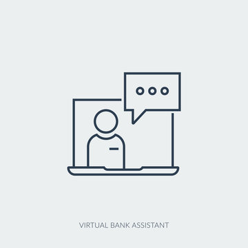 Vector outline icon of virtual bank assistant