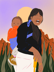 Indigenous female with child