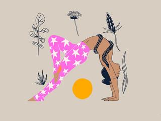 Flowers and Yoga Fotobehang