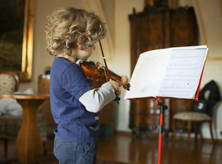 A little boy plays the violin at home. The child learns music. Wall mural