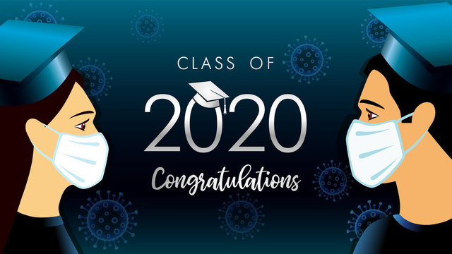 Class off 2020 year congratulation graduate, social distancing design. Vector illustration with students in medical mask and graduation text in academic cap on dark blue background