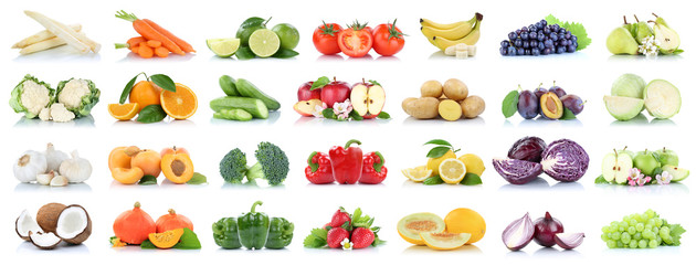 Wall Mural - Fruits vegetables collection isolated apple apples oranges garlic tomatoes banana colors fresh fruit