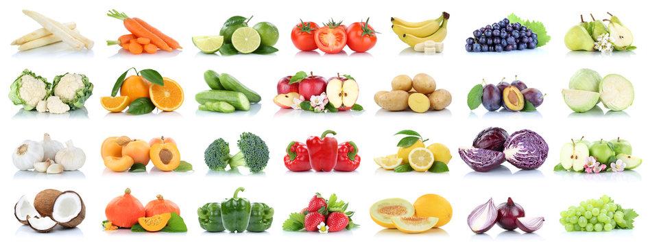 Fruits vegetables collection isolated apple apples oranges garlic tomatoes banana colors fresh fruit