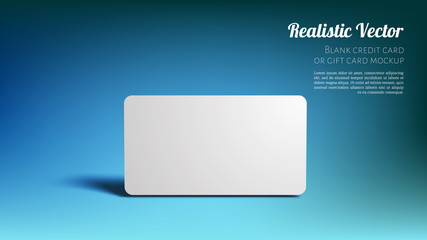 Blank Mockup Bank or Gift Card on a Studio Blue Background. Layered Template for Design. Ready to Use in Your Showcase.