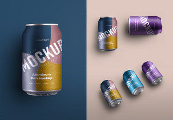 3 Aluminum Drink Can Mockups