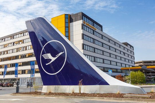 Lufthansa headquarters with tail at Frankfurt airport