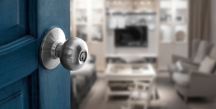 open door to blur living room in banner size