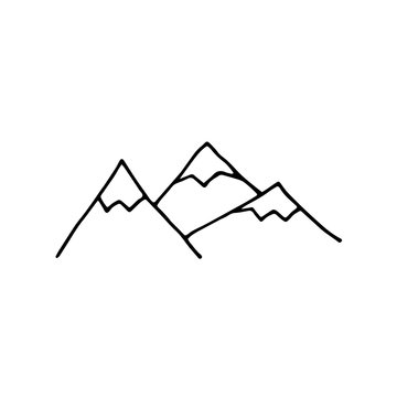 Doodle vector mountains. Outline Mountain isolated on a white background. Hand-drawn landscape detail. Cute stylized Scandinavian style snow capped mountains. Line stock illustration for designs