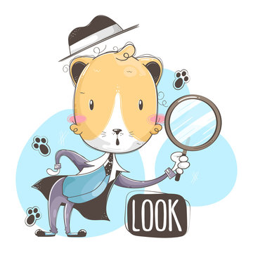 Illustration of cat with magnifying glass