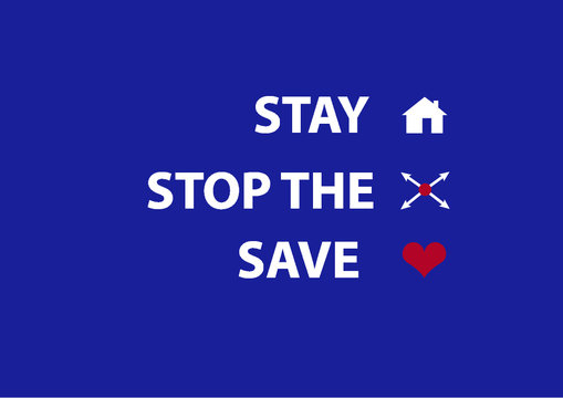 Stay home, Stop the spread, Save lives. Trump presidential guidelines COVID-19 Corona pandemic white house government U.S. political slogan illustration