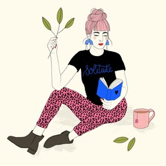 Illustration of woman reading book