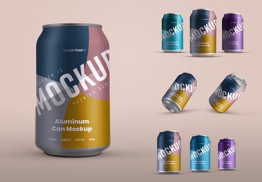 5 Aluminum Drink Can Mockups