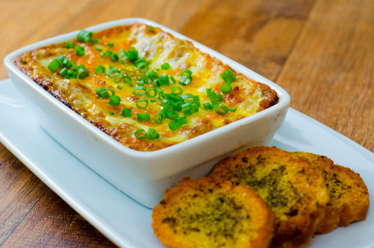 lasagna with toast