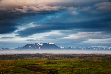 Wall Mural - Dramatic view of the geothermal valley Leirhnjukur. Location Northeastern region, Iceland, Europe.