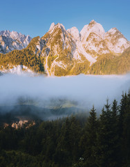 Wall Mural - Great morning on the alpine lake Vorderer Gosausee. Gosau valley, Austrian alps.