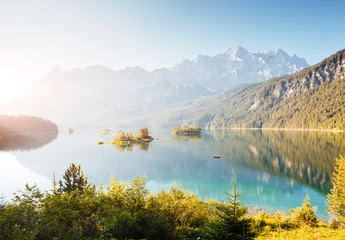Wall Mural - Famous alpine lake Eibsee. Location Garmisch-Partenkirchen, Bavarian alp, Europe.