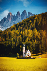 Wall Mural - Awesome view San Giovanni Church in St. Magdalena village. Location Trentino-Alto Adige, Italy, Europe.