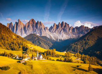 Fototapete - Captivating landscape in St. Magdalena village. Location Trentino-Alto Adige, Italy, Europe.