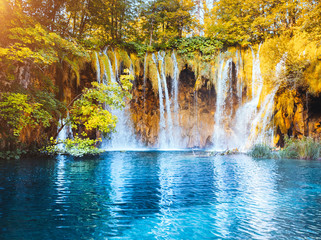 Wall Mural - Peaceful view on paradise waterfalls of Plitvice Lakes National Park. Croatian famous resort.