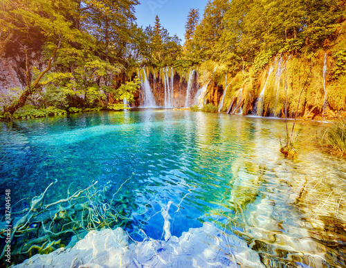 Wall mural Peaceful view on paradise waterfalls of Plitvice Lakes National Park. Croatian famous resort.