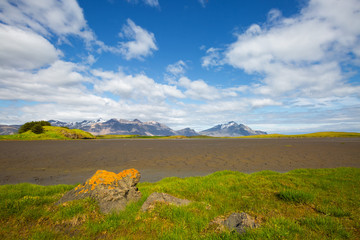 Fotomurales - Wonderful image of amazing nature landscape. Location Stokksnes cape, Iceland,