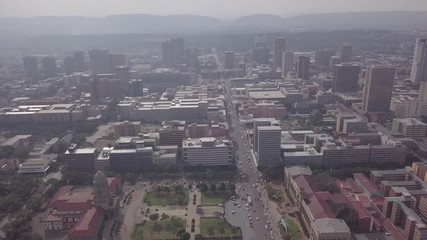Wall Mural - Aerial view of downtown of Pretoria, starting from Tshwane City Hall, South Africa