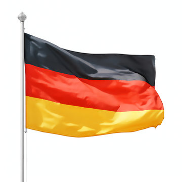 German flag on flagpole isolated with clipping path
